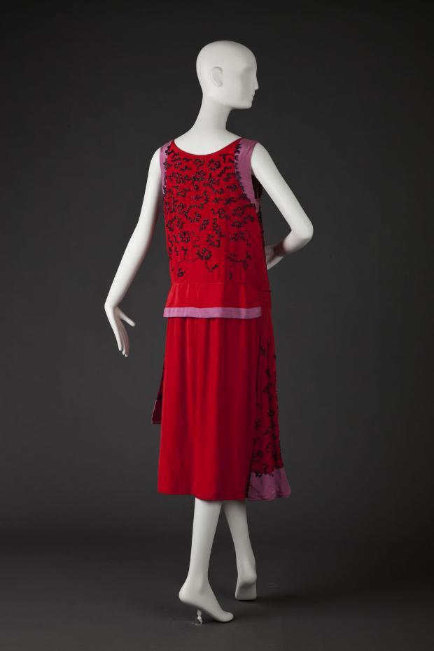 Dress in tomato red & lavender silk satin, ca. 1925-26, S & J. B., Paris & New York, Goldstein Museum of Design, Univ. of Minnesota, 1993.027.023