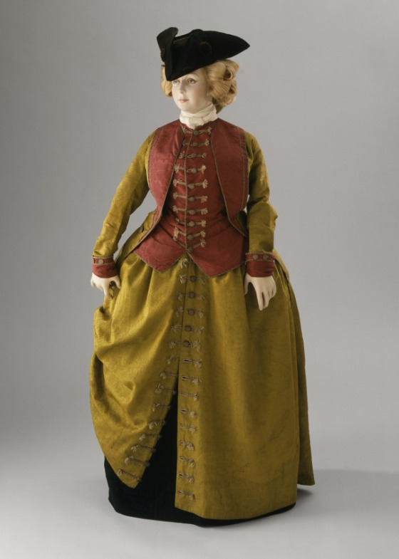 Woman's Riding Habit Italy, Venice, circa 1780 Costumes; ensembles Watered silk faille, watered plain weave silk, linen lining, LACMA, Purchased with funds provided by Mr. and Mrs. Dennis C. Stanfill (M.82.16.2a-c)