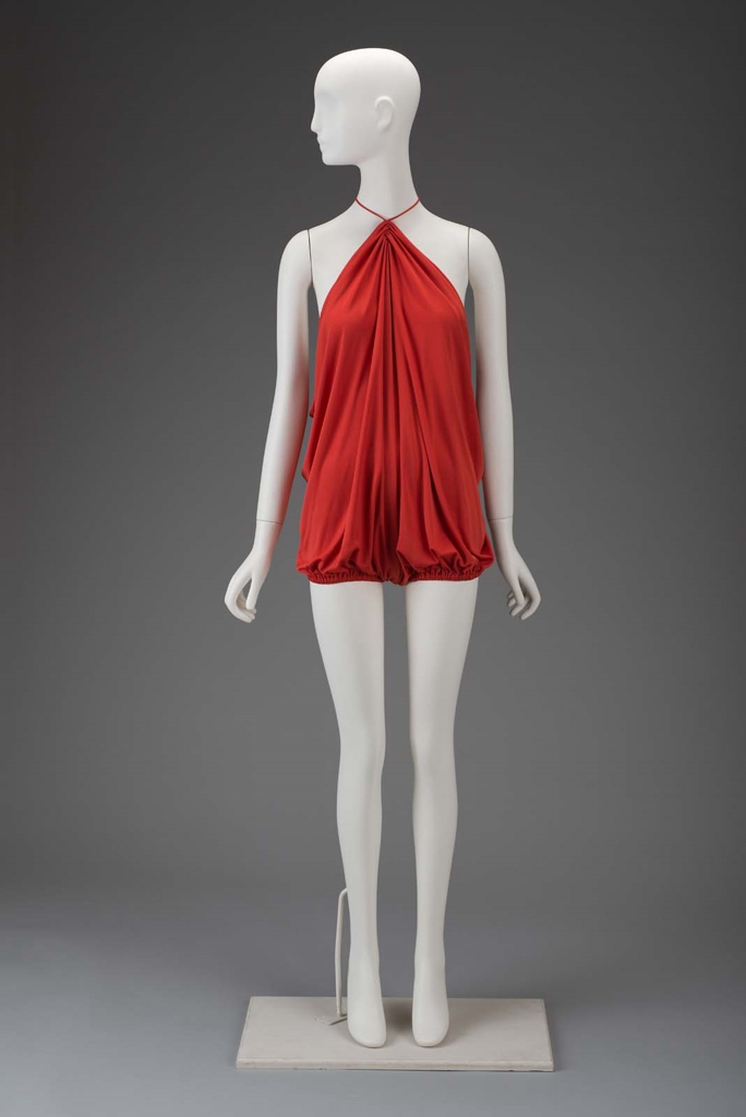 Loose tomato red viscose draped jersey swimsuit, 1976, Gnyuki Torimaru (Japanese, worked in England, born in 1937), MFA Boston, 2011.421