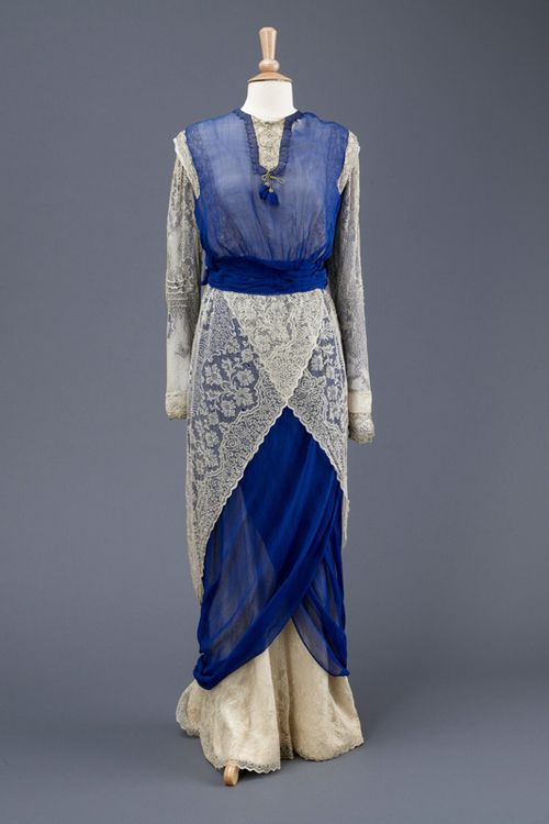 Blue chiffon and cream lace hobble dress, c. 1912,  Hull Museums Collection: Wilberforce House Museum - Georgian Houses, KINCM-1976.8