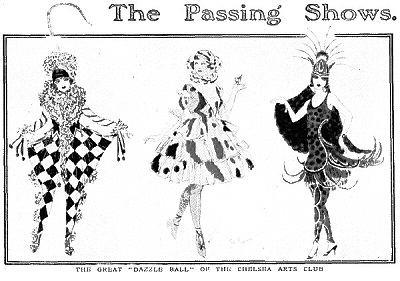 Postcard of Dazzle Ball at Chelsea Arts Club, 1919