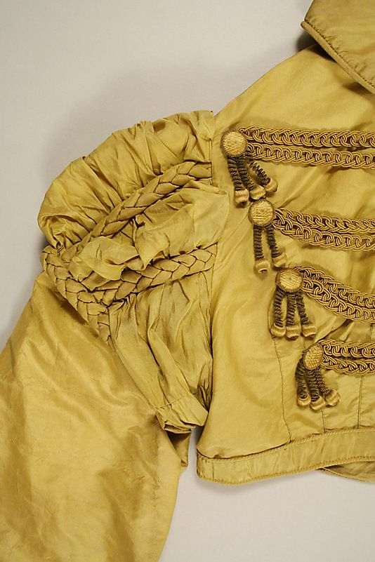 Regency Silk Spencer Jacket. Front Shoulder Detail View. Circa 1819-1822, Metropolitan Museum of Art, 1975.34.9