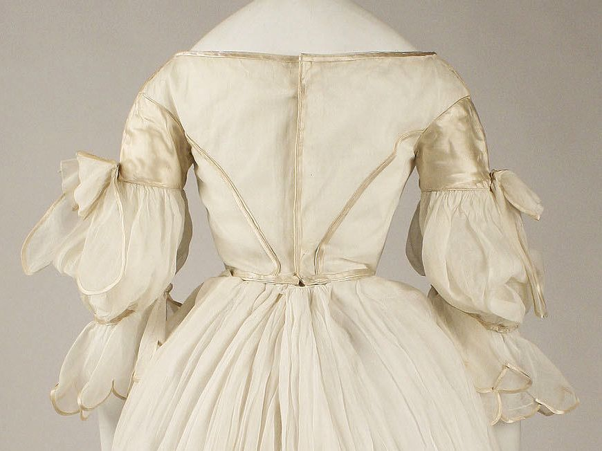Evening dress, ca. 1840, American, cotton, silk, Metropolitan Museum of Art, 1982.132.1ab