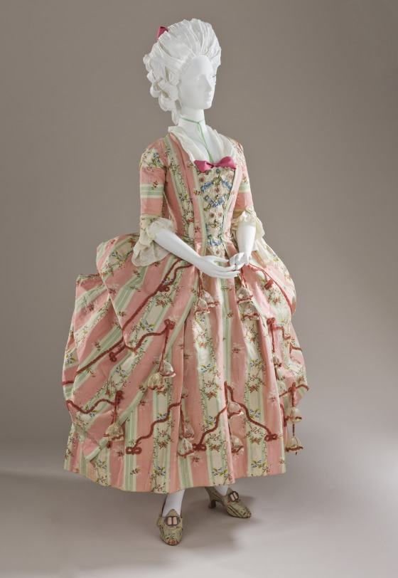Dress and Petticoat (Robe a la Polonaise) Spain; Textile- France, circa 1775, Silk, LACMA M.2007.211.720a-b