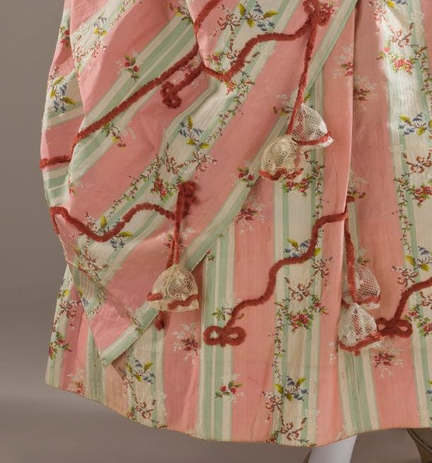 Dress and Petticoat (Robe a la Polonaise) (detail of skirt) Spain; Textile- France, circa 1775, Silk, LACMA M.2007.211.720a-b