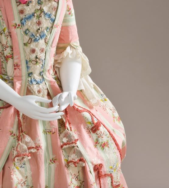 Dress and Petticoat (Robe a la Polonaise) (detail of sleeves and stomacher) Spain; Textile- France, circa 1775, Silk, LACMA M.2007.211.720a-b