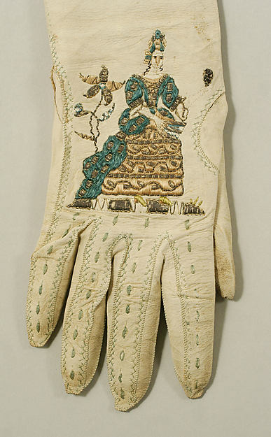 Gloves, late 18th century (I strongly suspect this is a typo, and they are late 17th or early 18th century),  British, leather, silk, Metropolitan Museum of Art, 23.220.2