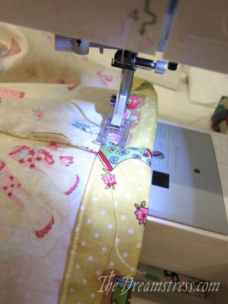 Sewing around the waist channel