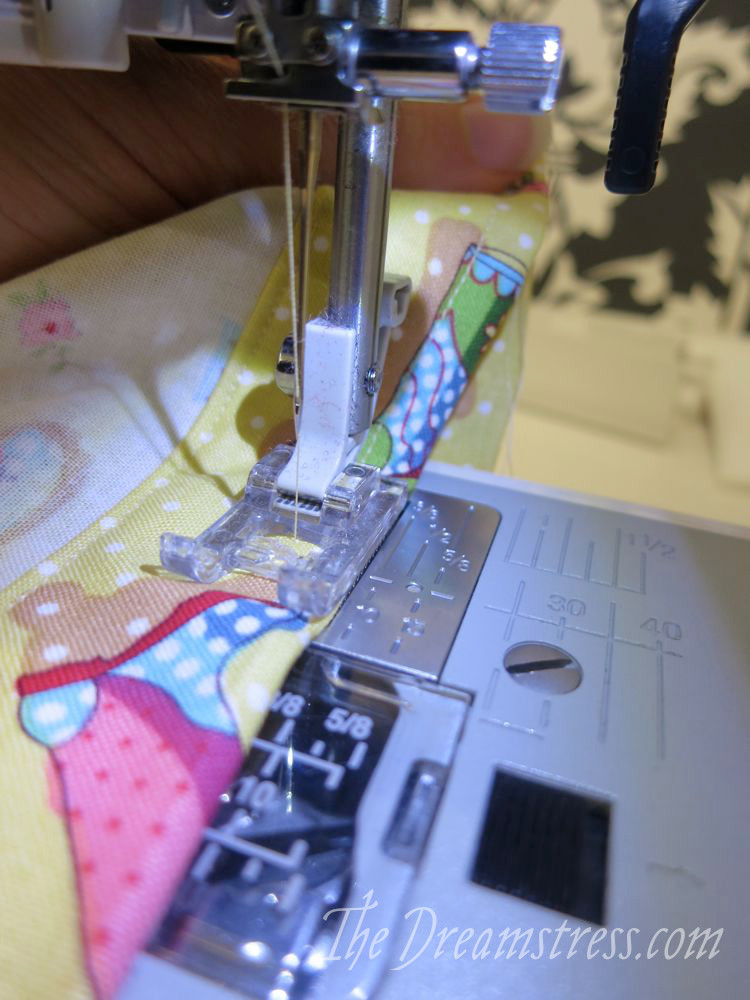Sewing around the top edge of the waist channel
