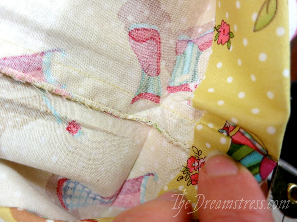 The seam allowance un-twisted and straightened out