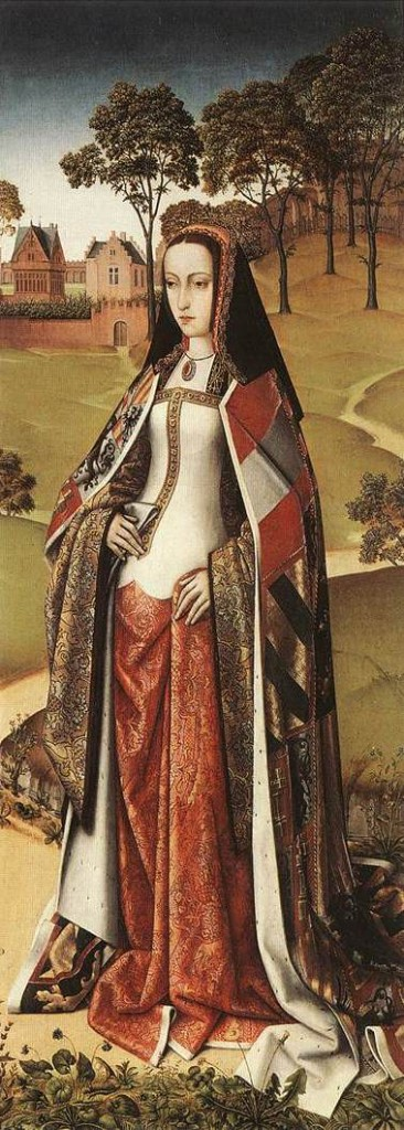 Joanna of Castille, ca 1500, in a detail from the wings of the Last Judgement Triptych of Zierikzee, by the Master of Afflighem (Royal Museums of Fine Arts of Belgium