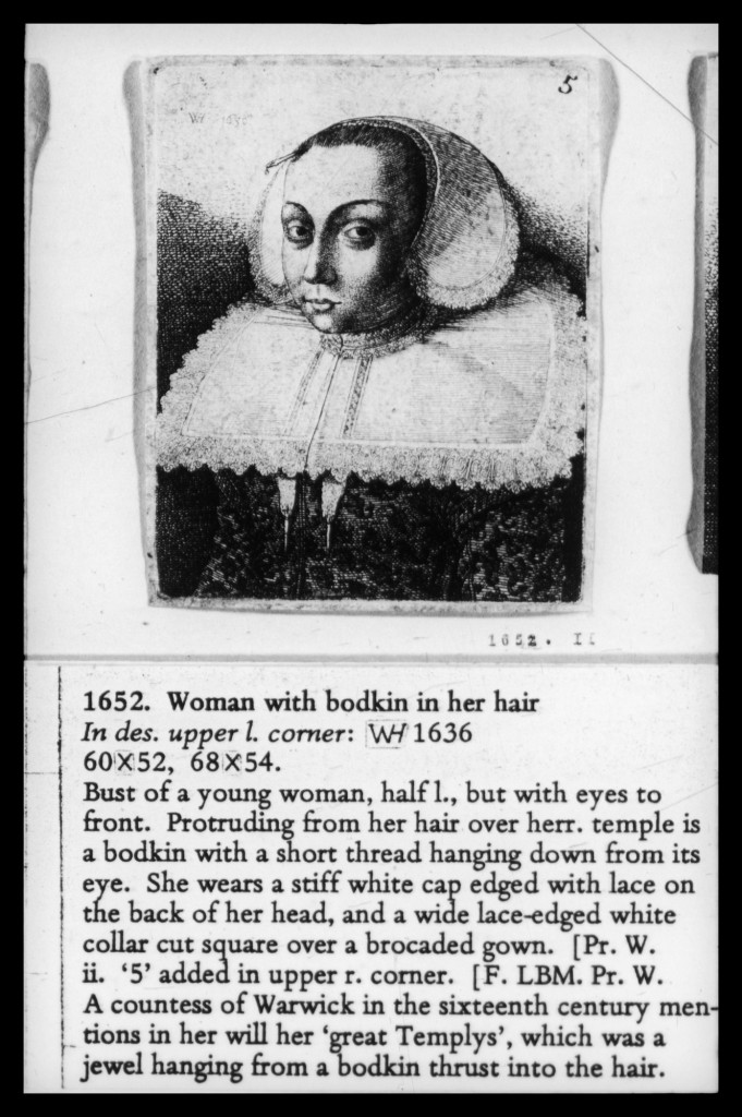 Woman with a Bodkin in Her Hair Wenceslaus Hollar, 1636, Royal Collection UK, RCIN 803820