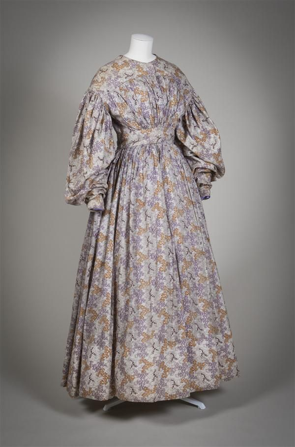 Dress of fine white cotton printed with purple, lilac, beige, red, and green. Dutch, 1830, Gemeentemuseum Den Haag.