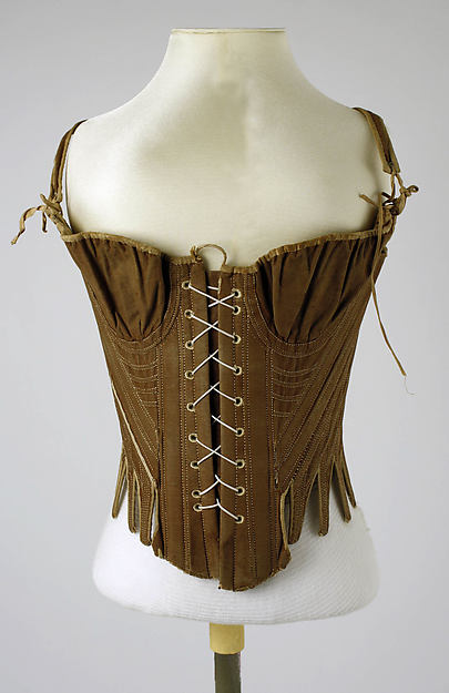 Corset (Stays) 18th century, American or European, cotton, silk, Metropolitan Museum of Art, C.I.41.94