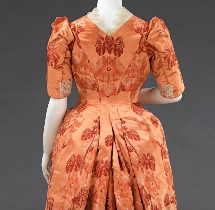 Dinner dress, ca. 1886, American, silk, Metropolitan Museum of Art, 2009.300.889a, b
