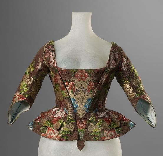 Jacket (Casaquin), c. 1730-1750; (fabric c. 1720- 1730,  FRANCE silk and gilt brocade, National Gallery of Victoria, Melbourne, 1331-D4