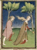 Queen's Book, fol. 128. Hippomenes and Atalante.