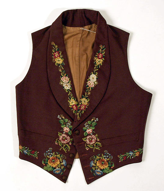 Waistcoat, mid-1840s, British, wool, silk, Metropolitan Museum of Art, 24.160.3_F