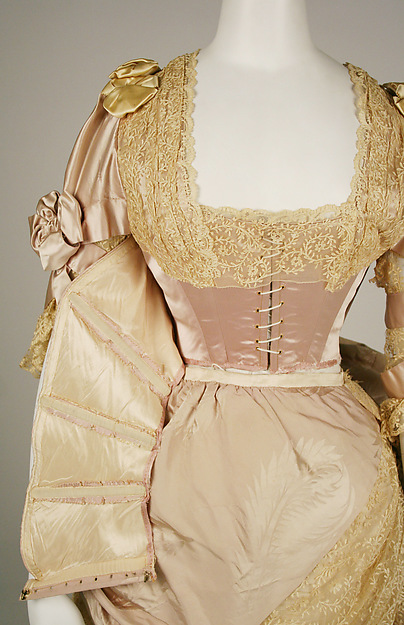 Evening dress, House of Worth (French, 1858–1956), Jean-Philippe Worth (French, 1856–1926), 1887–89, French, silk, 49.3.24a–e