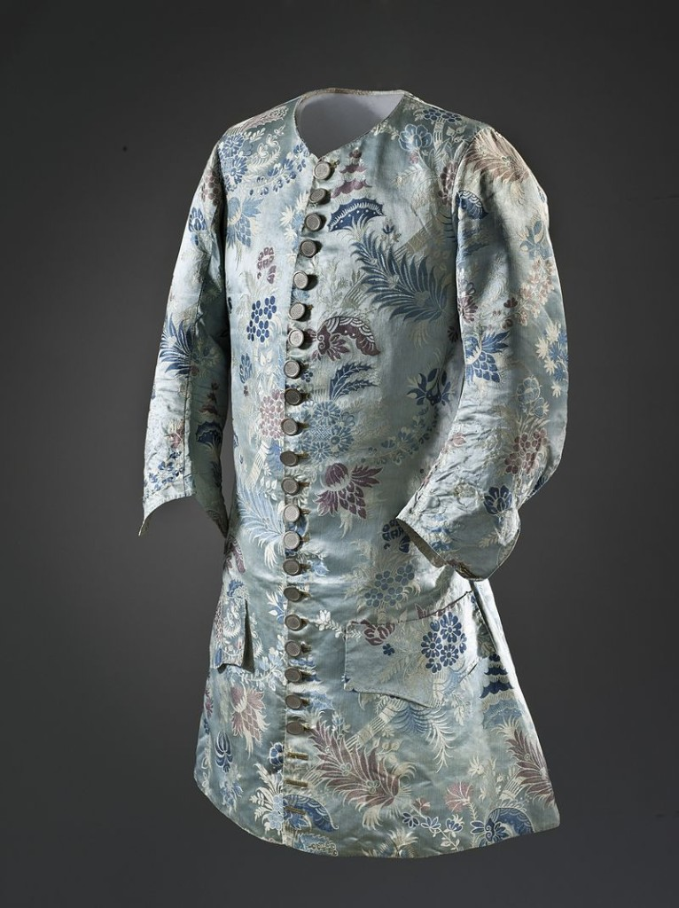 Man's bizarre silk sleeved waistcoat, France, c. 1715. Silk satin with supplementary weft patterning bound in twill (lampas). LACMA M.2007.211.40