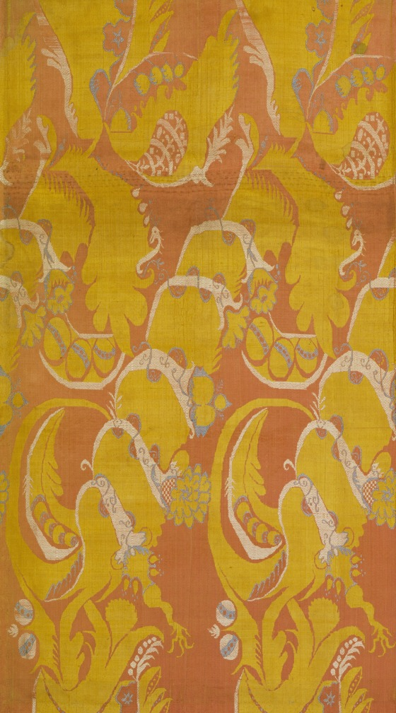 Panel with Large Bizarre-Style Design France, first quarter of the 18th century, Silk thread brocaded on silk ground LACMA, M.66.42.6