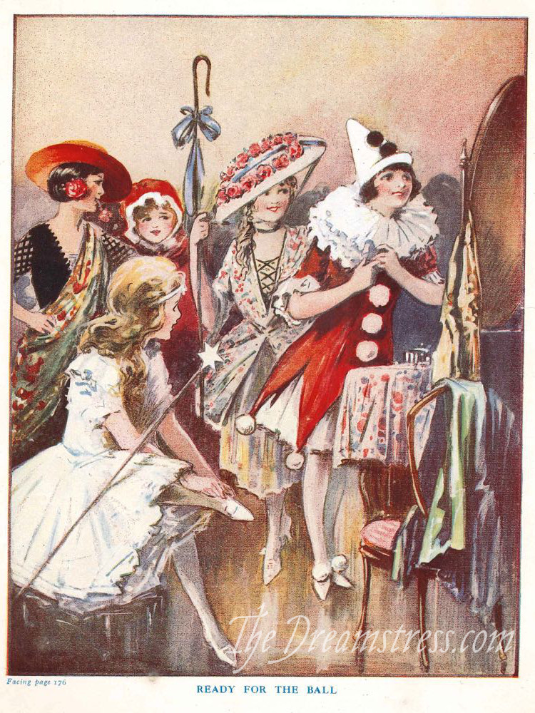 A fancy dress ball scene from a 1920s School Girls Annual thedreamstress.com