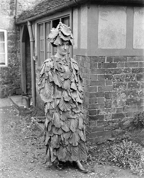 Costume of cabbage or lettuce leaves, early 20th century