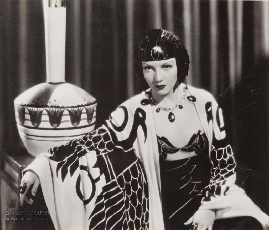 Claudette Colbert in a gown by Travis Banton for Cecil B deMille's 'Cleopatra' 1934
