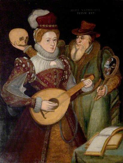 Death and the Maiden, British (English) School, c.1570, Oil on panel, 65 x 49 cm, Shakespeare Birthplace Trust
