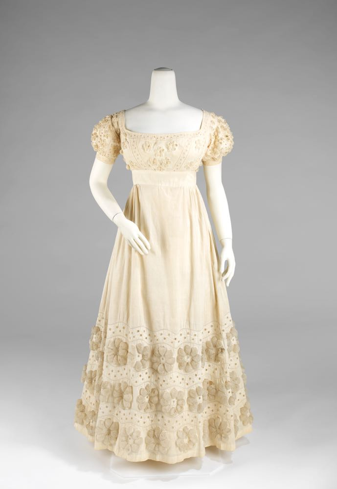 Evening dress, ca. 1820, American, cotton, Metropolitan Museum of Art, 2009.300.2978a, b