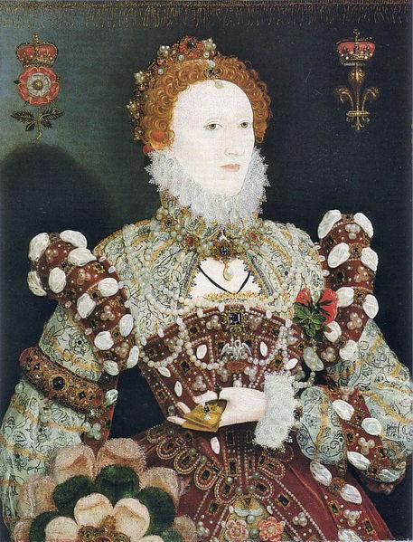 """The """"Pelican Portrait"""" of Queen Elizabeth 1 c.1575 by Nicolas Hilliard."""