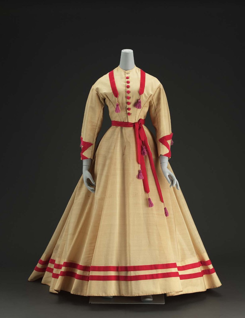 Dress, American, About 1868, USA, Alpaca with silk velvet ribbon and covered buttons, silk tassels, cotton linen inner bodice, glazed cotton lining, and metal closure, MFA Boston, 52.1653