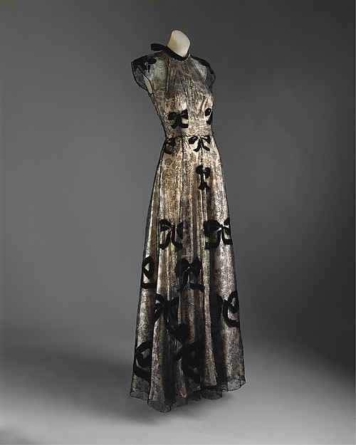 Evening dress, Madeleine Vionnet (French, Chilleurs-aux-Bois 1876–1975 Paris), 1939, French, cotton, metallic, Metropolitan Museum of Art, C.I.52.24.2a, b