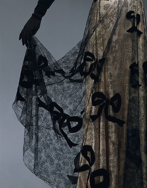 Evening dress, Madeleine Vionnet (French, Chilleurs-aux-Bois 1876–1975 Paris), 1939, French, cotton, metallic, Metropolitan Museum of Art, C.I.52.24.2a, b