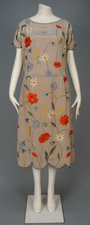 Tambour Embroidered Silk Dress, 1920-1924, Whitaker Auctions