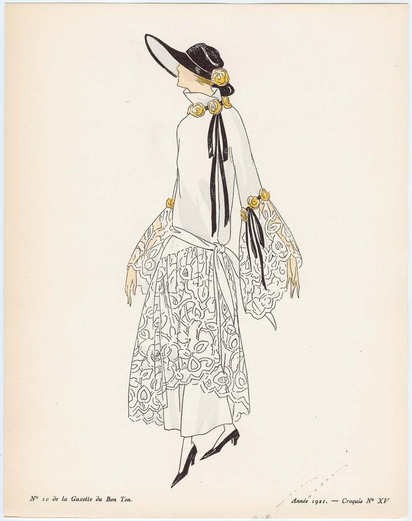 """Pour la Riviera, Robes Garnies de Fleurs,"" croquis XV from Gazette du Bon Ton, Volume 2, No. 10 French December 1921"