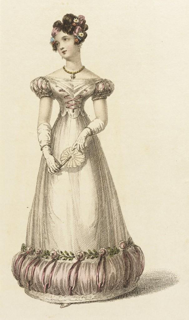 Fashion Plate (Ball Dress) Rudolph Ackermann (England, London, 1764-1834) England, London, March 1, 1825, LACMA, M.83.161.229