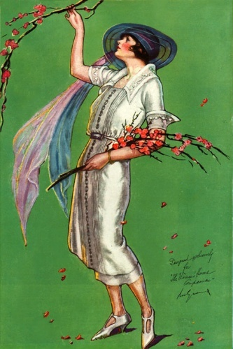 White gown by Molyneuz - Illustration by Ruth Eastman, 1921