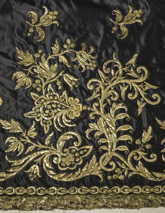 Court Dress and Train, Portugal, circa 1845, Silk satin with metallic-thread embroidery and silk net (tulle) trim, LACMA, M.2007.211.941a-e
