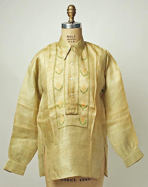 Shirt, first half of the 20th century, Philippine, sinamay, Gift of Mr. Clement Hidalgo, 1948, Metropolitan Museum of Art, C.I.48.74.1