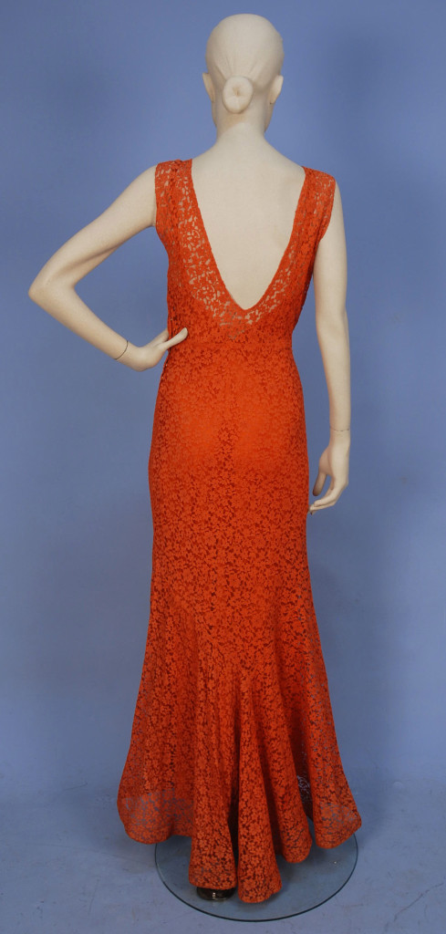 Evening gown, lace with satin under dress, sold by Whitaker Auctions