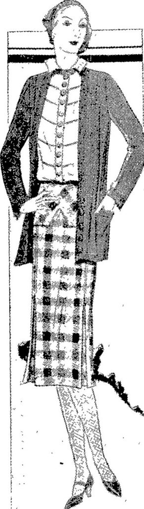 SPORTS ENSEMBLE, comprising soft tweed check skirt with fitting basque, blouse with short sleeves, and cardigan, in green crepe mousse. Auckland Star, 8 December 1930