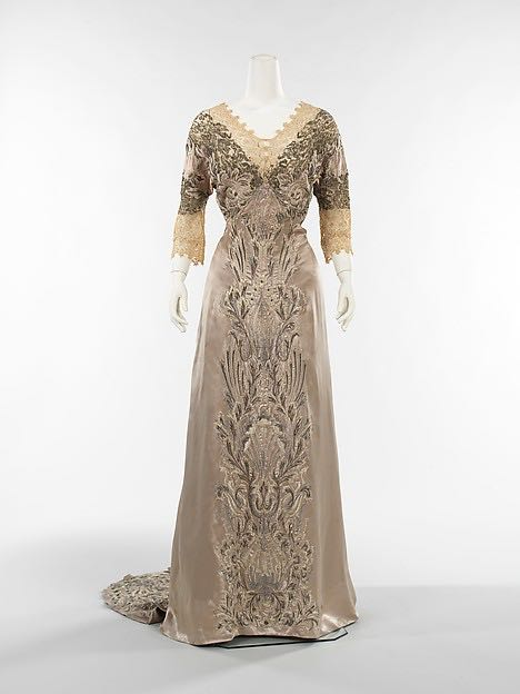 Dinner Dress, Attributed to Callot-Soeurs, ca. 1908 French, silk, linen, metal, Metropolitan Museum of Art, 1989.103 0004