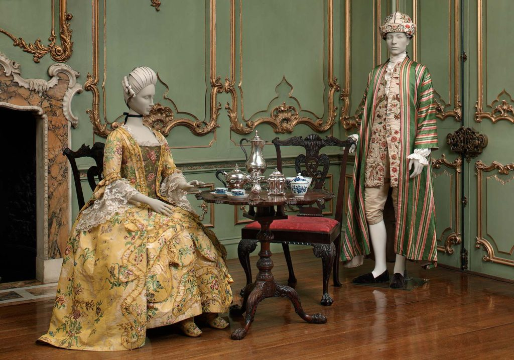Dress, English, about 1745, dress restyled about 1760, brocaded silk, MFA Boston, 43.1639a-b (shown with banyan 43.122)