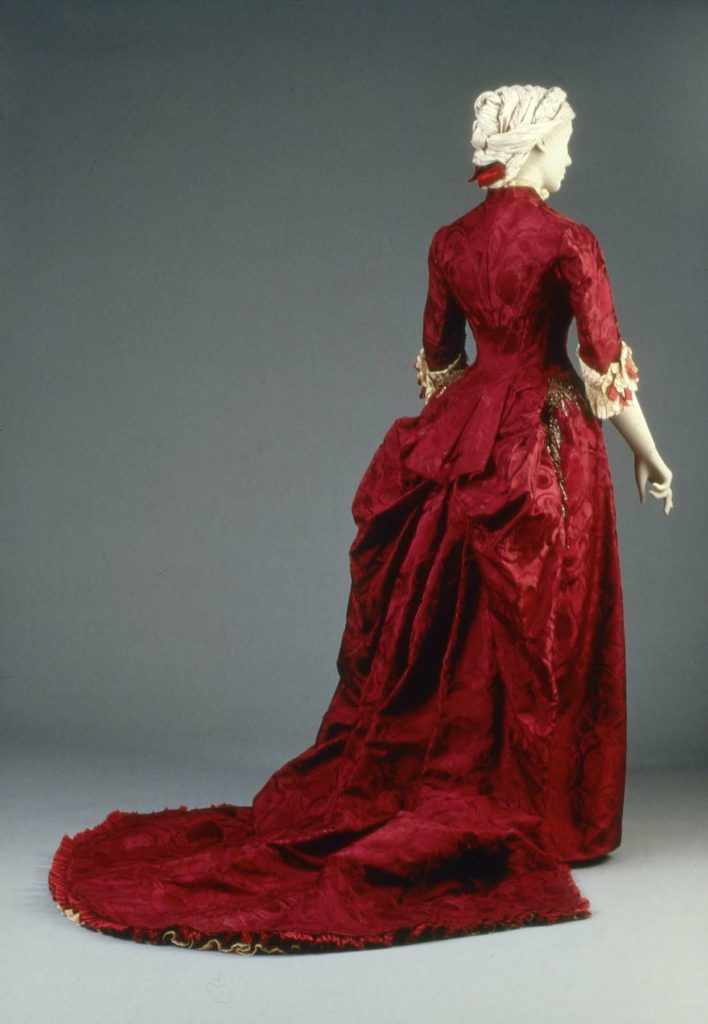 Reception or dinner dress, Charles Frederick Worth, silk damask with silk taffeta, glass beads, metallic gimp and machine made lace, about 1883, MFA Boston, 46.199a-b.jpg