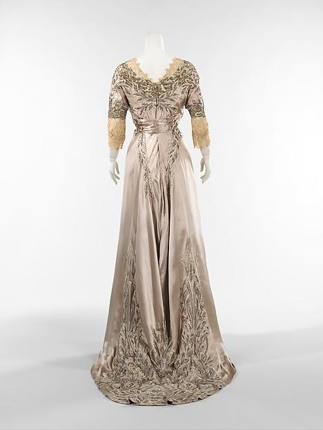 Dinner Dress, Attributed to Callot-Soeurs, ca. 1908 French, silk, linen, metal, Metropolitan Museum of Art, 1989.103 0004