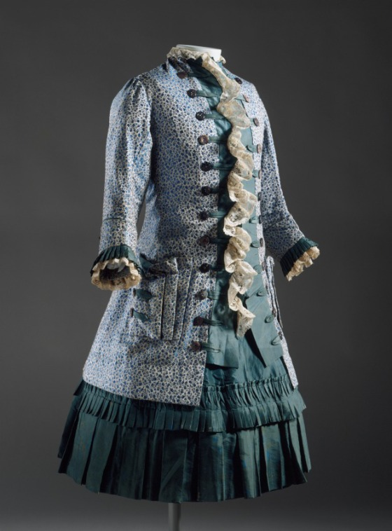 Girl's Two-piece Dress, England, circa 1885, Silk brocade, silk satin, shell buttons, lace, LACMA, Gift of Helen Larson AC1999.46.32.1-.2