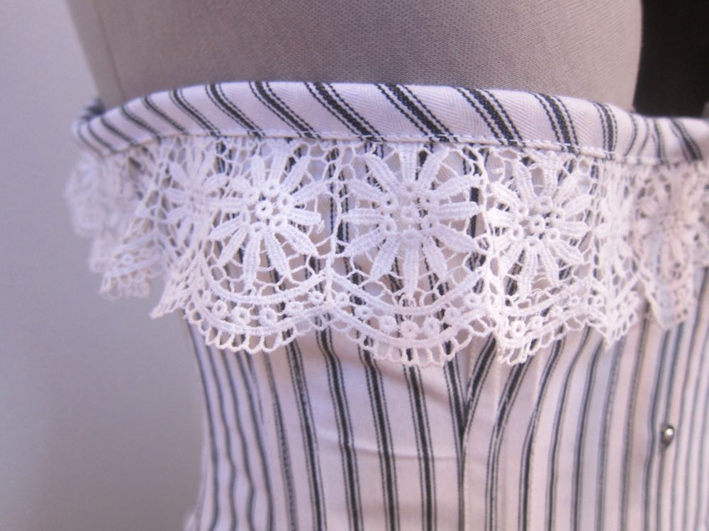 1916 black and white longline corset thedreamstress.com