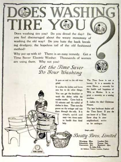 A washing machine advertisement, 1919