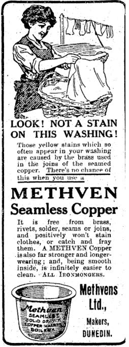 Advertisement for a Methven Copper, Wanganui Chronicle, 1 January 1916